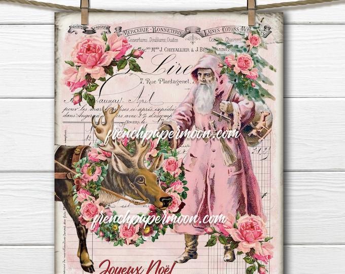 Shabby Pink Victorian Santa Claus, Pink Santa, Reindeer, Rose Wreath, French Xmas Pillow, Fabric transfer, Printable Pink Xmas, PNG, JPEG
