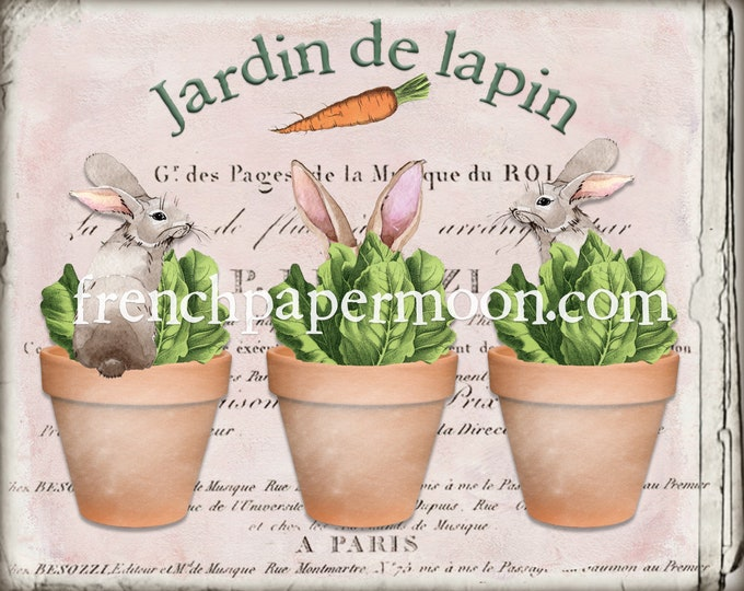 French Bunny Rabbit, Bunnies in Pots, Adorable Garden Bunnies, Potted Bunnies, DIY Bunny Sign, Wreath Decor, Tiered Tray Decor, Pillow Image