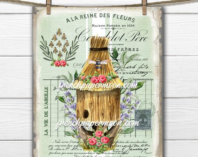 French Honey Bee Digital Graphic, Beehive, Bee Ephemera, Shabby Honey Bee, French Pillow Bee, Fabric Transfer, Transparent, Decoupage, Print