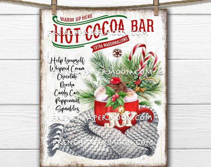 Christmas, Hot Cocoa Bar, DIY Xmas Decor, Cozy Winter Drink, Scarf, Fabric Transfer, Sublimation, Xmas Crafts, Wreath Accent, Xmas PNG