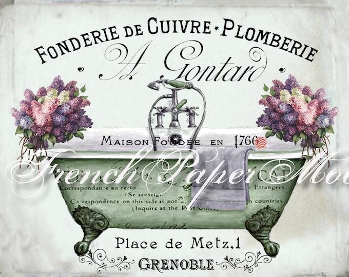 Vintage French Digital Shabby Bathtub Printable, Victorian Bath, French Bathroom Download, French Decor, French Bath Transfer Graphic