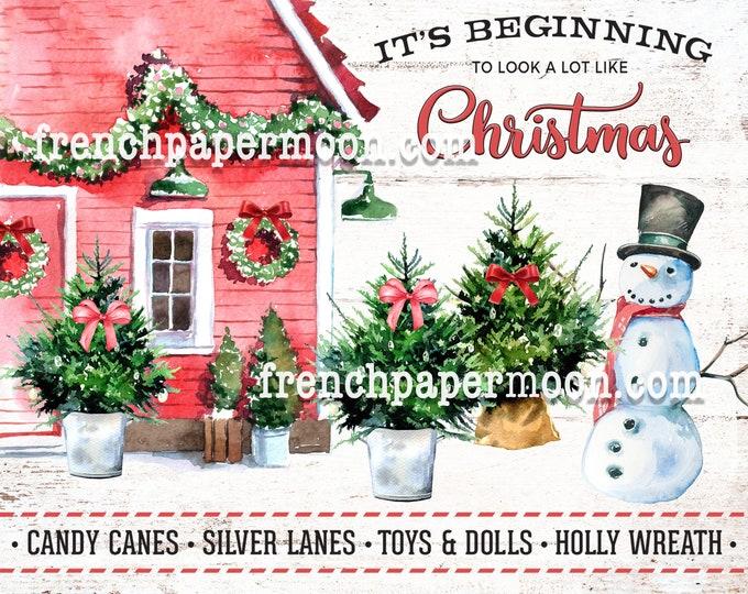 Cute Pink Christmas House Digital, Snowy Xmas, Snowman, Winter Cottage, Card Making, Xmas Pillow, Sublimation, DIY Xmas Sign, Transparent