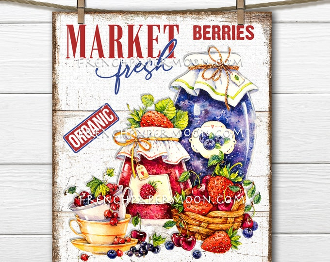 Farm Fresh Berries, Farmers Market, Preserves, Mixed Berries, DIY Berry Sign, Tiered Tray Sign, Image Transfer, Pillow Image, PNG, Wood