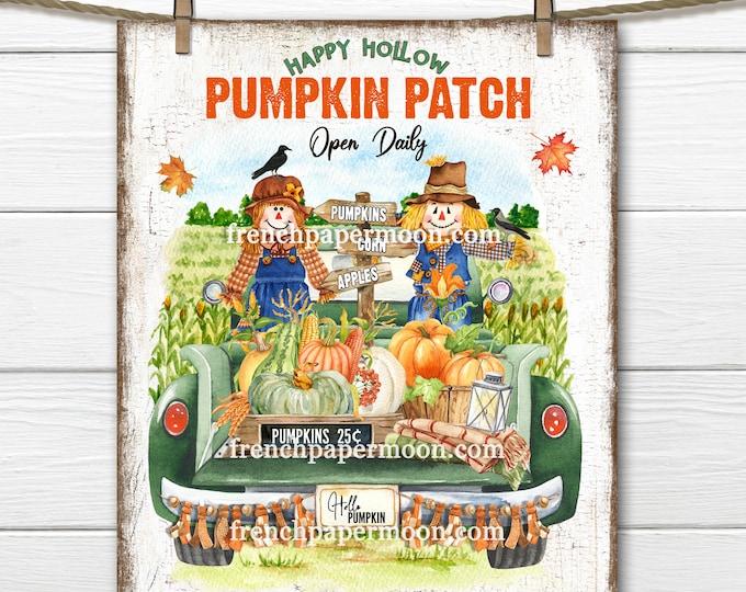 Pumpkin Truck, Scarecrow, Fall Harvest, Digital, Farmhouse, Pumpkin Patch, Image Transfer, DIY Harvest Sign, Wreath Accent, Wall Art