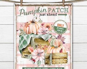 Modern Farmhouse Pumpkin Patch, Pumpkin Crates, Pastel Pumpkins, Home Decor, DIY Sign, Fabric Transfer, Digital Image, PNG