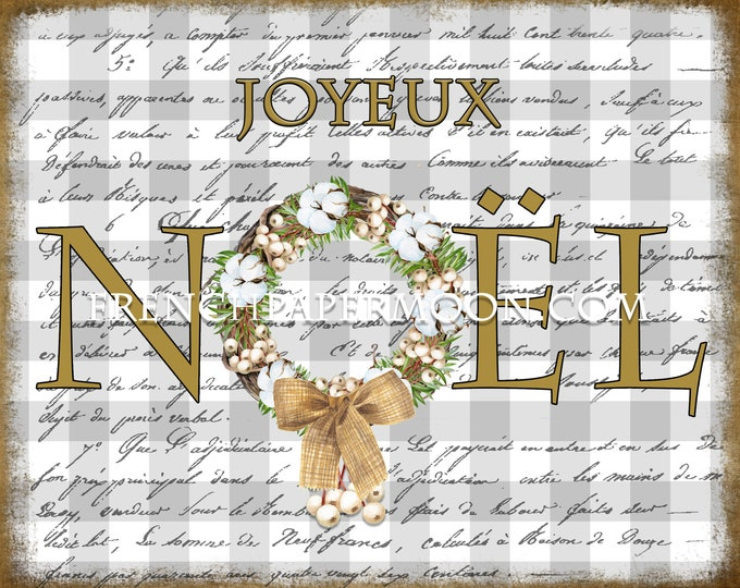 French Plaid Christmas Printable, Noel, Snowberry Wreath, Cotton Wreath, French, Xmas Pillow image, Fabric Transfer, Crafts, JPEG PNG