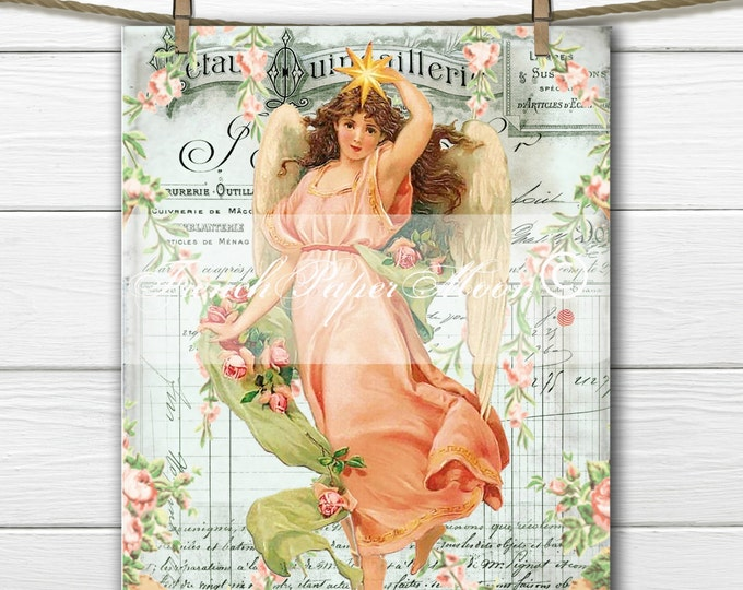 Vintage Digital French Angel, Shabby Victorian Angel, French Pillow Graphic Transfer Image Download
