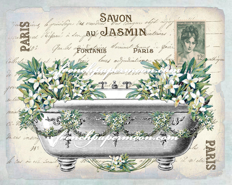 Bathroom Salle De Bain shabby french bathtub flowers, spring, jasmin, salle