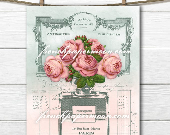 Digital French Perfume, Perfume Bottle, Shabby roses, French Graphics, French Pillow transfer Graphic, Large Image