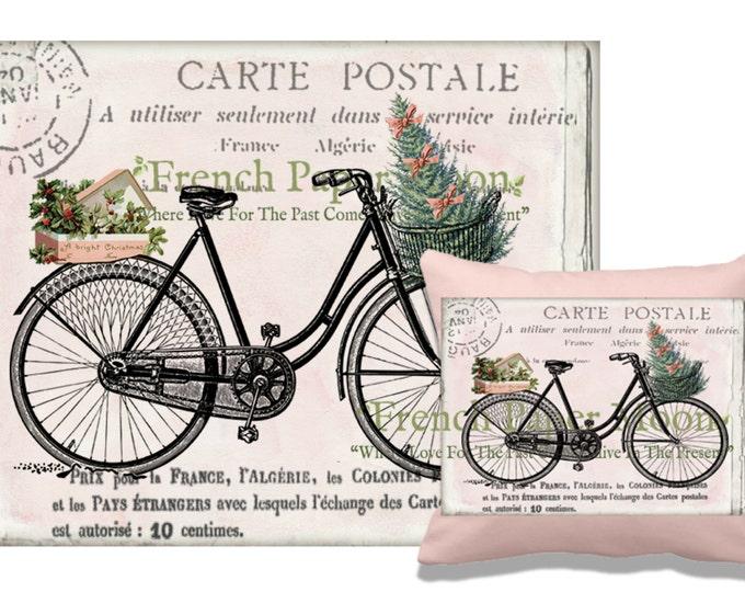 Digital Christmas Bike, Shabby Pink Christmas Bike Download, Christmas Pillow Image Transfer, Iron on Fabric