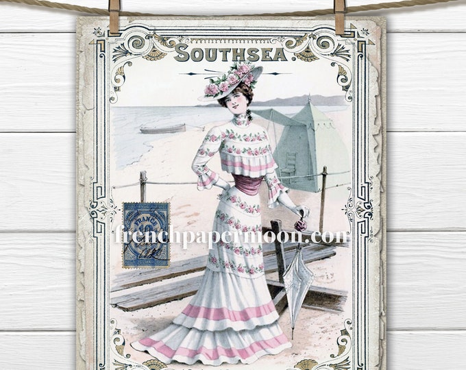 Printable Seaside Fashion plate, 1900, victorian beach graphic, French magazine digital image, swimsuit. old-fashioned, digital print