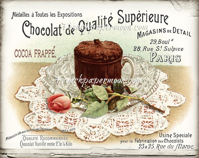 Hot Chocolate Digital, Vintage Shabby French Food, Roses, Chocolate Drink, Old Typography, Large Size Image Transfer, Kitchen Print