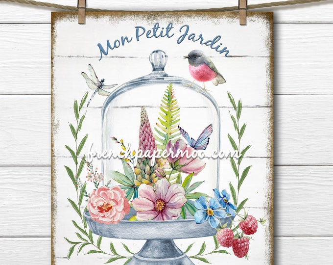 French Spring Flower Glass Cloche Printable, Little Garden Graphic, Bird, Dragonfly, Transparent, Sublimation, Digital Fabric Transfer