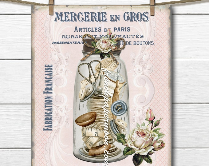 Shabby French Sewing Graphic, Sewing Ephemera, Mason Jar, French Pillow Image, Fabric transfer, Buttons, Digital Large Size png