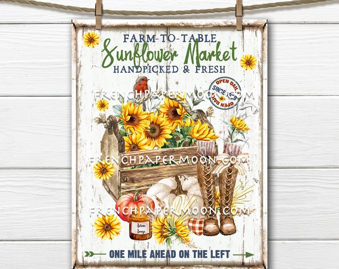 Sunflower Market, Farmhouse Sunflowers, Fall Flowers, DIY Sunflower Sign, Image Transfer, Fabric Transfer, Tiered Tray Sign, Sublimation