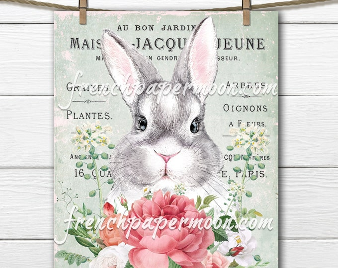 Adorable Watercolor Bunny, Printable Baby Rabbit, Easter, Spring Flowers, French Pillow Image, Sublimation, Transparent, Digital, Crafts