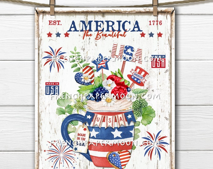 4th of July, Patriotic Mug, Cake,, Red White Blue, Patriotic Party Sign, Stars & Stripes, Image Transfer, Wreath Decor, Tiered Tray Sign PNG