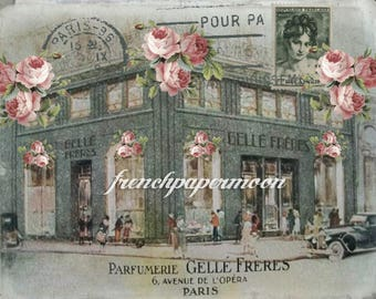 Shabby Chic French Parfumerie, French Perfume Shop, Pillow Transfer, Scrapbooking Background, Large Image