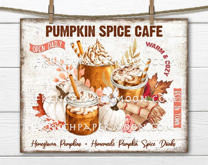Pumpkin Spice, Fall Cafe, Pumpkin Drinks, Autumn Drinks, Fall Leaves, DIY Pumpkin Spice Sign, Fall Wreath Accent, Fabric Transfer, Digital