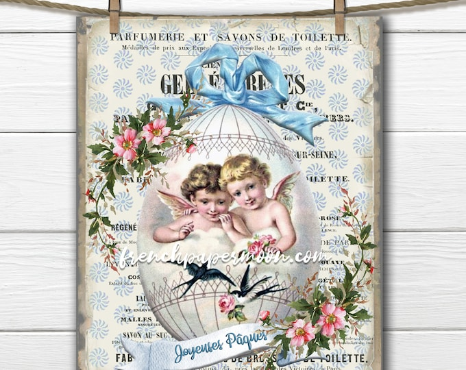 French Shabby Easter Egg Printable, Easter Angels, Spring Graphic, French Pillow Image, Vintage Roses, Easter Transfer, Sublimation, Crafts