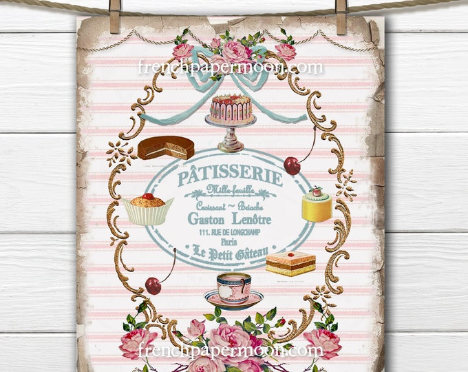 La Patisserie French Bakeshop Shabby Vintage Digital Print, Image Transfer, Crafts, French Kitchen Decor, Kids Room, Crafts