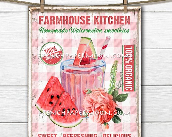 Farmhouse Kitchen, Watermelon Digital, Summer Fruit, Summer Drinks, Kitchen Print, DIY Watermelon Sign, Image Transfer, Pillow Image, PNG
