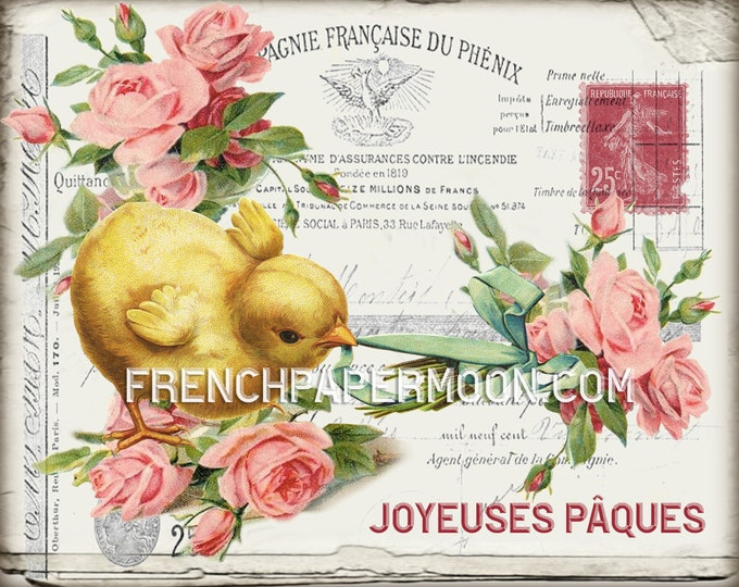 Digital Shabby Spring Chicks Printable, Shabby Roses, Easter Chicks, French Graphics, French Pillow Image, Transfer, Decoupage, Crafts