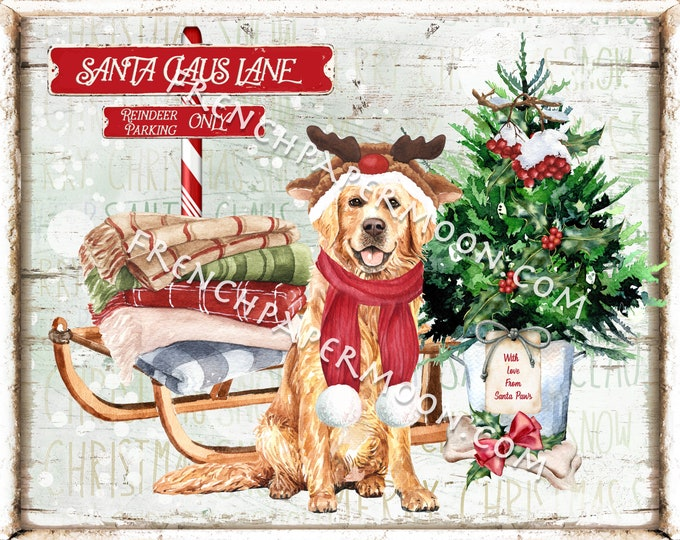 Santa Claus Dog Christmas Sign, Reindeer, Golden Retriever Christmas, Doggo Xmas, Xmas Wall Decor, Pillow Image, Wreath Attachment, PNG