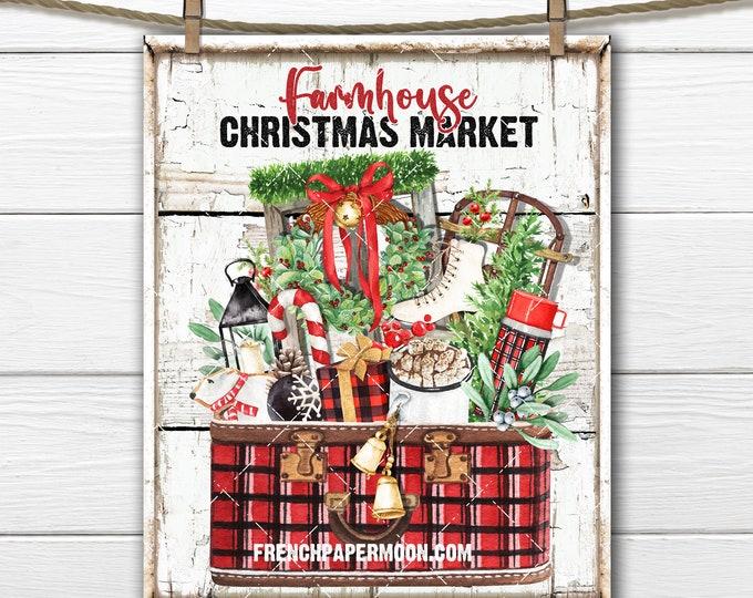 Farmhouse Christmas Market, Lumberjack Christmas, Plaid Christmas, Digital Print, Fabric Transfer, Wreath Accent, DIY Xmas Sign, Xmas Crafts