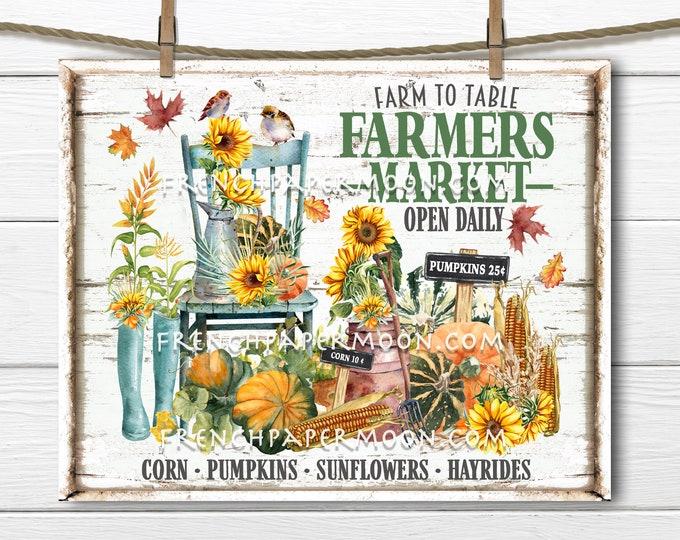 Rustic Autumn Harvest, Farmers Market, Digital, Farmhouse Fall, Pumpkins, Corn, DIY Sign, Image Transfer, Sublimation, Wall Decor, PNG