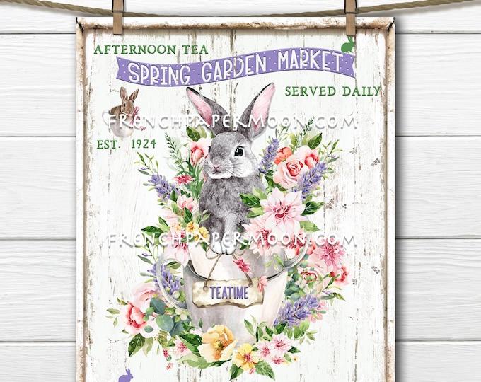 Spring Flower Teatime, Garden Market, Bunny Teacup, Digital, DIY Spring Sign, Fabric Transfer, Wreath Decor, Pillow Image, Pastel, Easter
