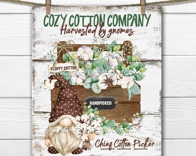 Cotton Gnome, Farmhouse Cotton Digital, Wreath Accent, Fluffy Cotton, DIY Gnome Cotton Sign, Image Transfer, Tiered Tray Decor, Wood, PNG
