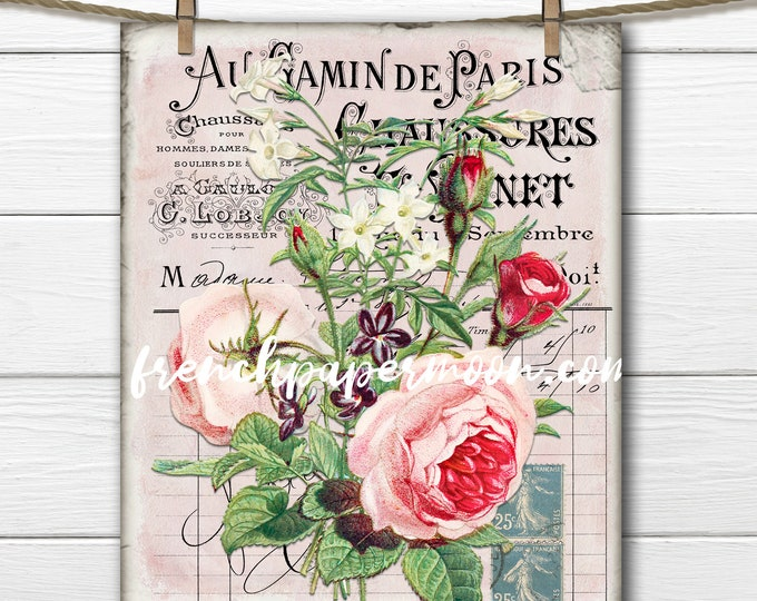Shabby Rose Printable, Victorian Roses, Spring Flowers, French Ephemera Floral, French Pillow Image, Fabric Transfer, Crafts, Sublimation