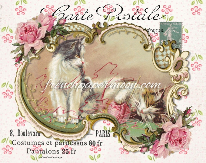 Victorian Cat Digital Image, Printable Fabric Block, Fabric Transfer, French Postcard, Instant Download, Graphic Transfer