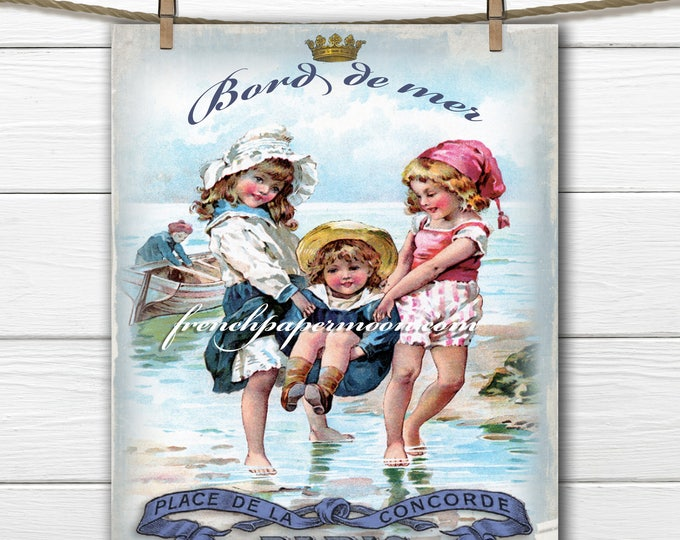 Vintage Digital French Seaside, Children, Beach, French Graphics, Fabric Transfer Graphic