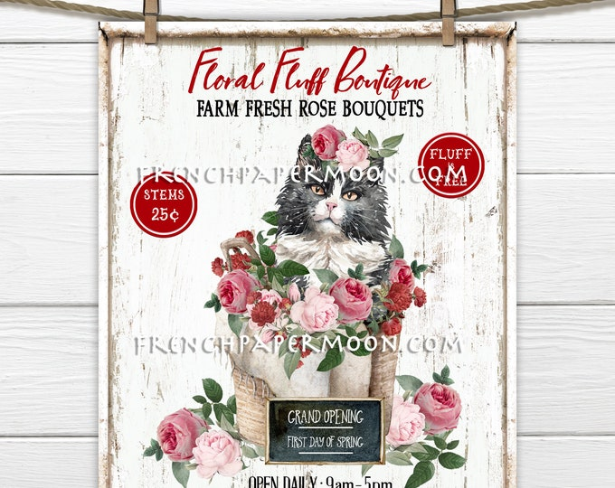 Shabby Cat Spring Digital, Flower Boutique, DIY Spring Sign, Pink Roses, Cat-lover, Fabric Transfer, Wreath Attachment, Printable Sign, Wood