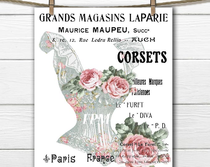 Digital French Corset Transfer Image, Shabby Chic Corset, Roses, French Typography, Iron On
