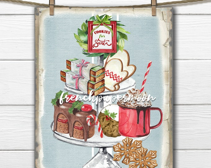 Christmas Tiered Tray Graphic, Cookies for Santa, Hot Chocolate, Cakes, Xmas Treats, Xmas Pillow Image, Fabric Transfer, Crafts, Sublimation