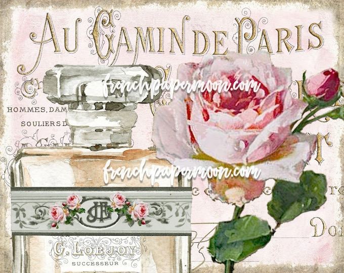 Shabby Chic Cottage Style Roses, Vintage French Country Sign, Wall/Table Decor Sign Antique Bottle Roses, Perfume Bottle, French Digital
