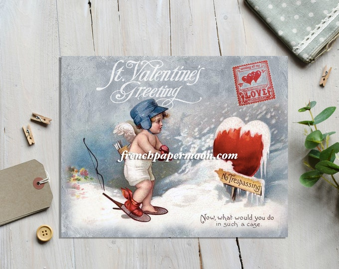 Printable Victorian Valentine Postcard Altered Instant Download Cherub Vintage Angel Graphic Transfer Image Instant Download