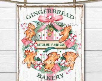 Christmas Gingerbread Bakery, Gingerbread Cookies, Gingerbread Wreath, Xmas Bakery, Home Decor Sign, Fabric Transfer, Digital Print