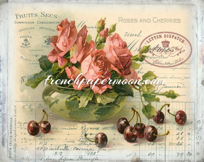 Victorian Digital Roses and Cherries, Shabby French Collage Sheet, Decoupage, Pillow Image, Fabric Transfer, Large Image, Instant Download