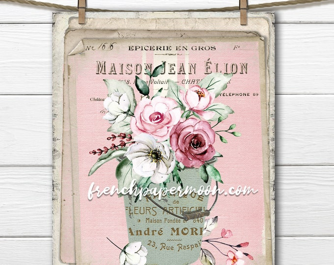 Shabby French Flower Print, Vintage Pail with Flowers, Pink, Vintage Floral Design, Pillow Image, Transparent, Crafts, Mother's Day