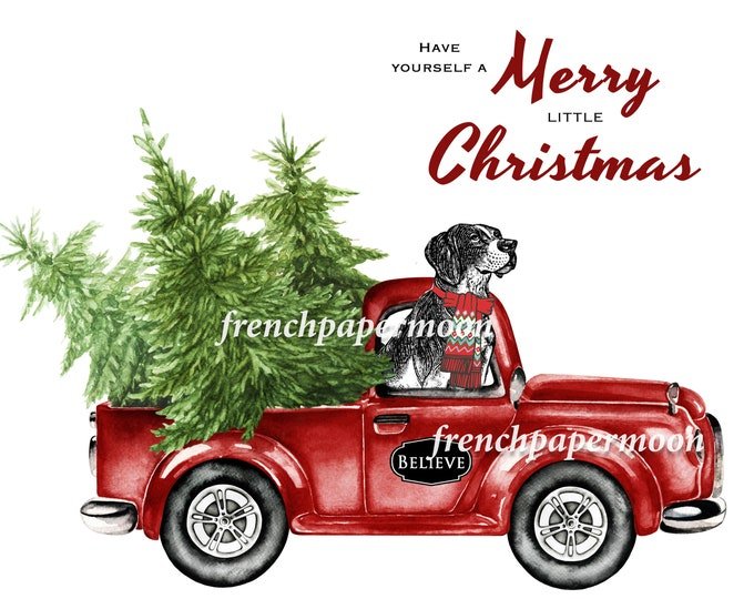 Christmas Truck with Dog, Doggie Xmas, Red Pickup Truck, Dog Lover, Pillow Image, Printable Fabric transfer, Christmas Cards, Crafts