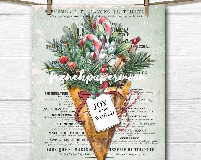 Christmas Bouquet, French Xmas Print,Joy, Candy Cane, Cinnamon, Holly, Greenery, Digital Print, Xmas Pillow Image, Fabric Transfer, PNG