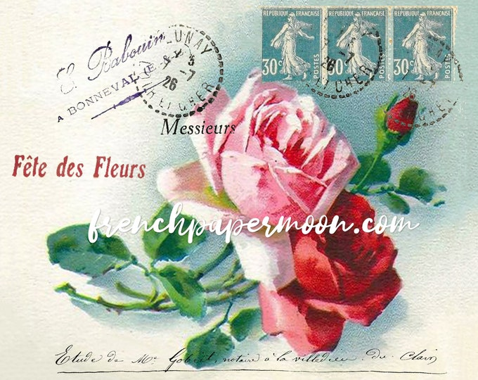 Shabby French Rose Postcard Printable, Victorian Roses, Catherine Klein, French Ephemera, French Pillow Image, Craft Supply, Digital Print