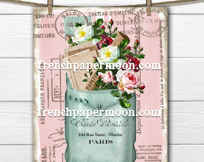 Shabby Floral Mailbox, French Ephemera Letters,  Roses, French Mail Digital, Carte Postale, French Pillow Image, Digital Transfer