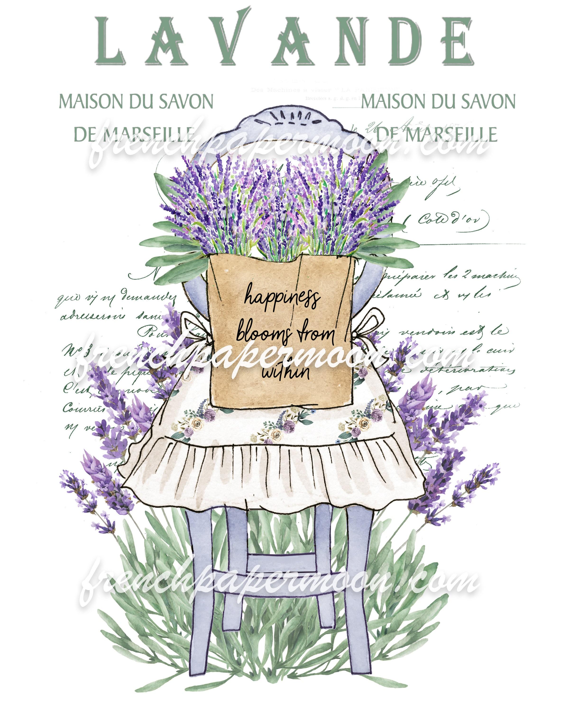 French Lavender Rustic Chair Printable Tea Towel Pillow Image Graphic Transfer Wood Background Plus Transparent Digital Farmhouse