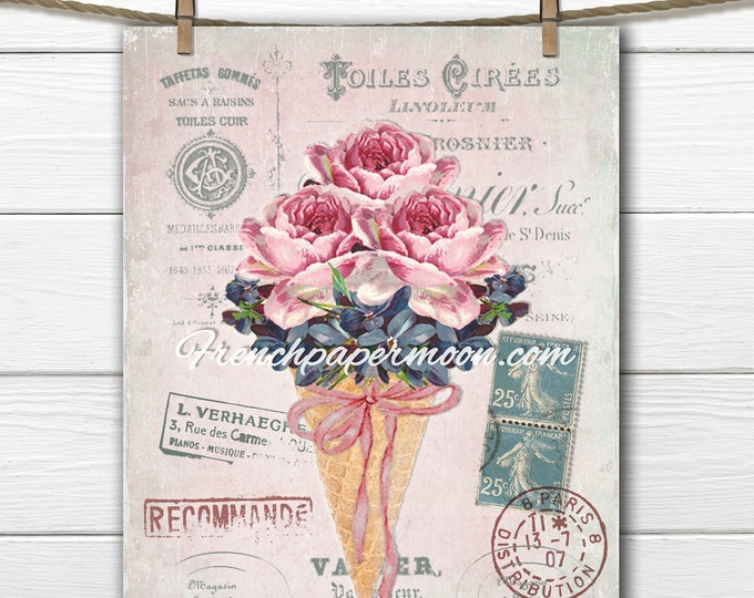 Vintage French Ice-Cream, Whimsical, Shabby Ice-cream Graphic, Digital Download Image Transfer, Fabric Block Printable