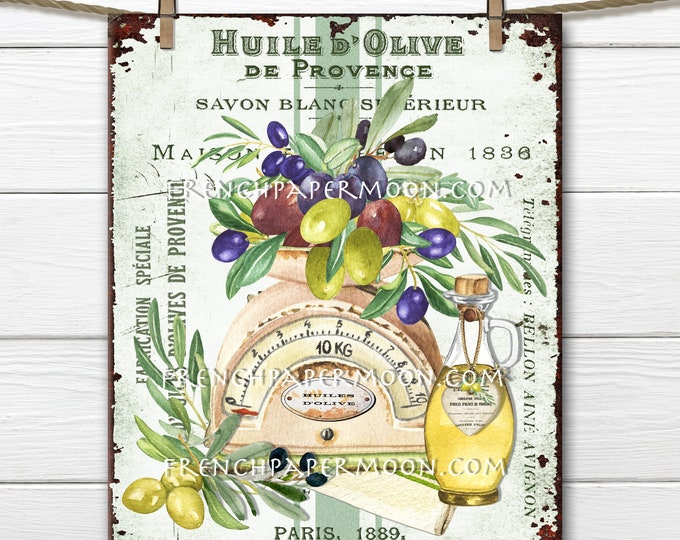 Rustic French Olives, Olive Oil, French Olive Oil Ephemera, Olives on Scale, DIY Kitchen Sign, Kitchen Decor, Pillow Image, Tiered Tray Sign